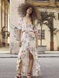 Women Fashion Bohemian Vacation Print Ruffle Long Dress