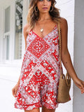 Women Fashion Bohemian Vacation style printed Short Dress