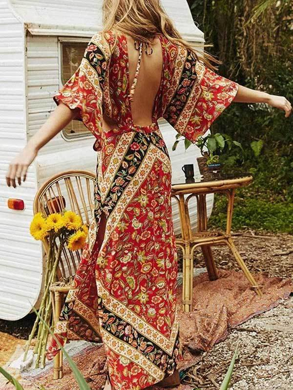 Women Fashion Bohemian Vintage Print V-neck Vacation Dress