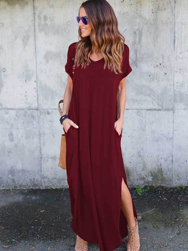 Women Fashion Casual Loose Pure color Slit Dress
