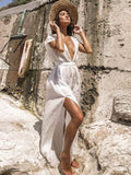 Women Fashion Deep V-neck Halter Strap Vacation Long Dress