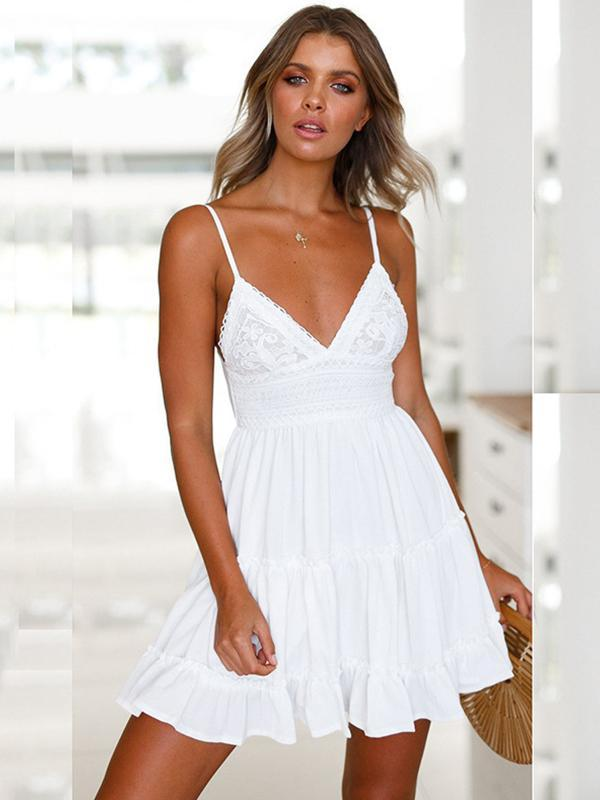 Women Fashion Deep V-neck sling Pleated Short Dress