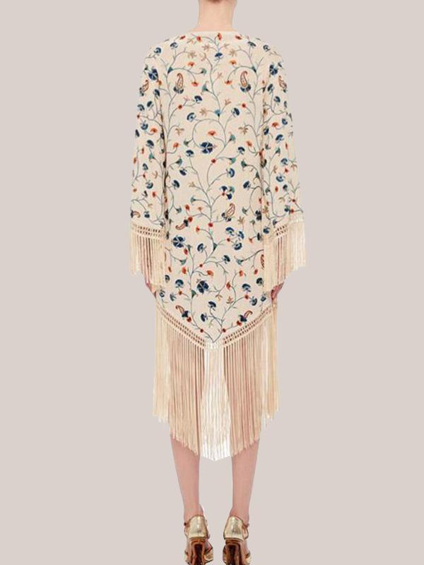 Women Fashion Fringed Printed Round Neck Loose Beach Midi Dress
