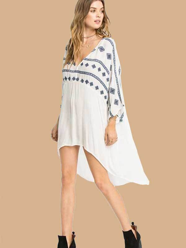 Women Fashion Irregular Loose Print Cover-up