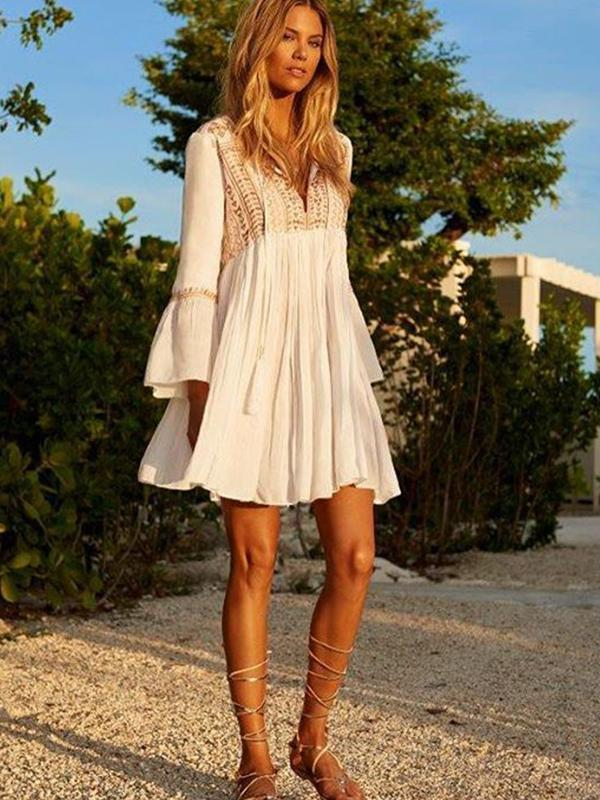 Women Fashion Long-sleeve Embroidery Loose Short Dress