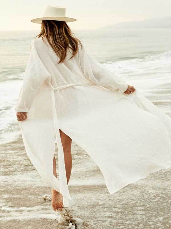 Women Fashion Long White Cardigan Vacation Beach Cover-up