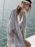Women Fashion Loose Striped Beach Sunscreen Cover-up