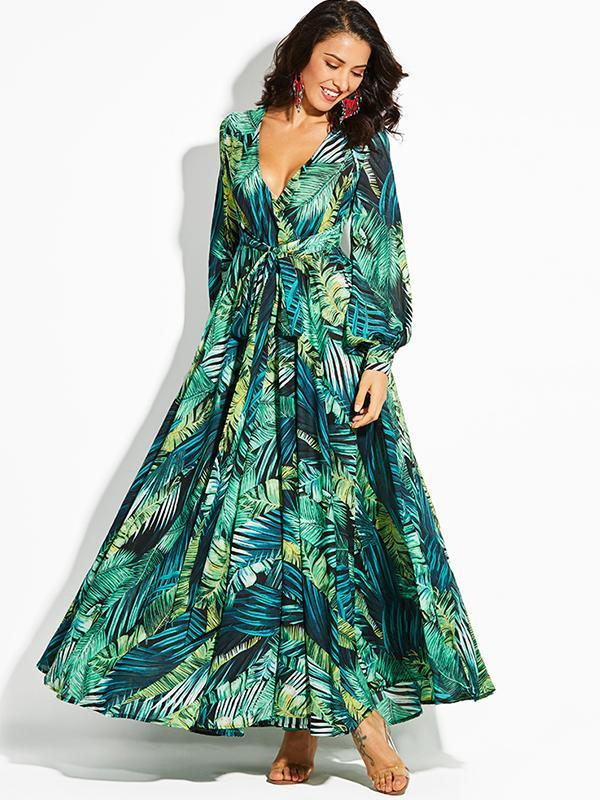 Women Fashion Print Chiffon Long Dress