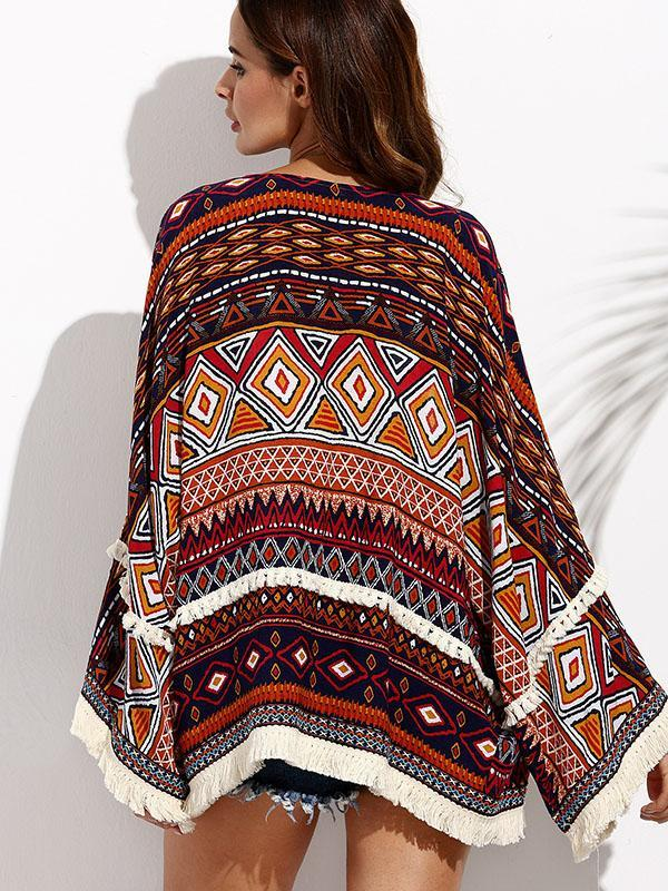 Women Fashion Print Vacation Short Cover-up