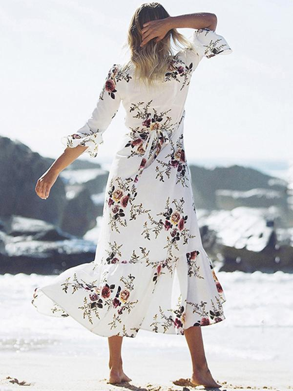 Women Fashion Printed Lace-up Ruffled Sleeve Long Dress