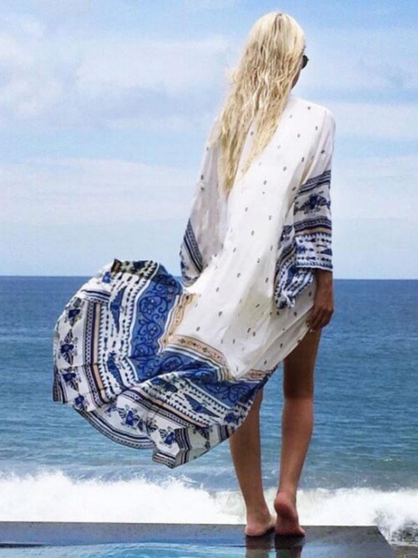 Women Fashion Printed Sunscreen Cardigan Vacation Cover-up