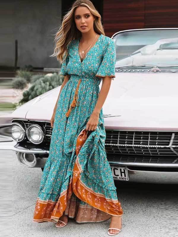 Women Fashion Printed V-neck Rrawstring Strap Long Dress