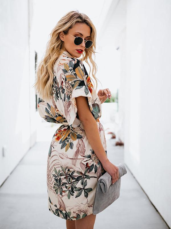 Women Fashion Printed V-neck Short Dress