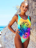 Women Fashion Sexy Floral One Piece Beach Swimsuit