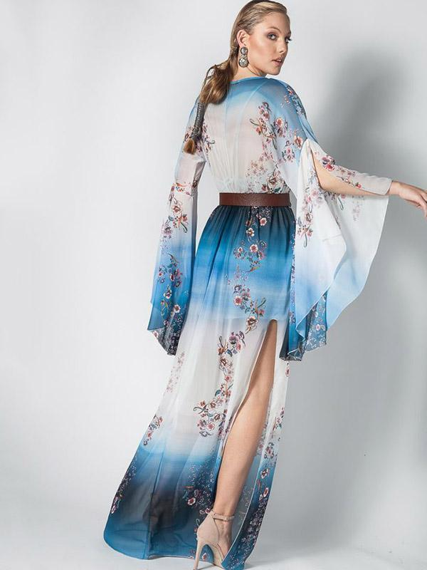Women Fashion Sexy Gradient Chiffon Print Trumpet Sleeve Long Dress