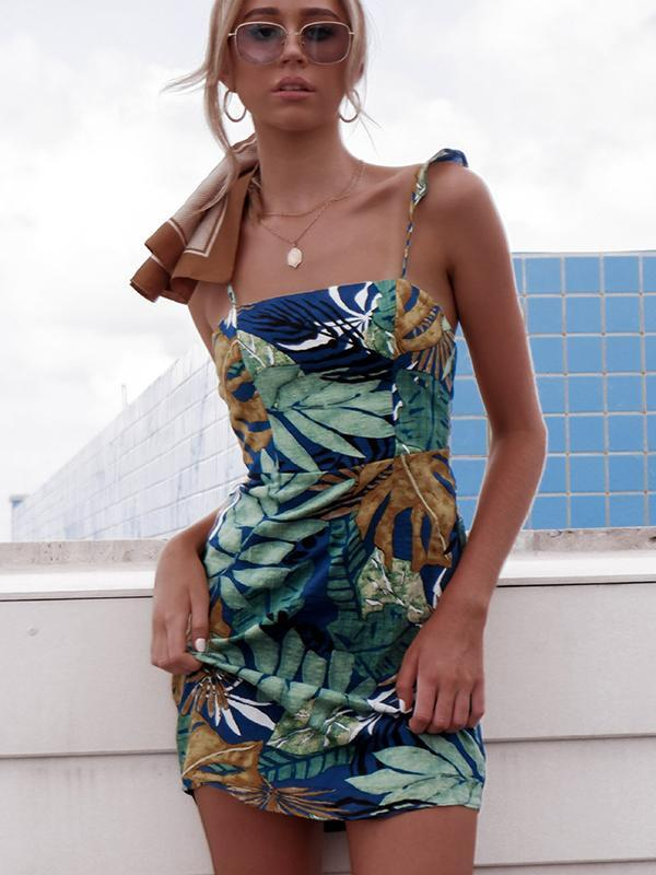 Women Fashion Sexy Plant Printed Strap Short Dress