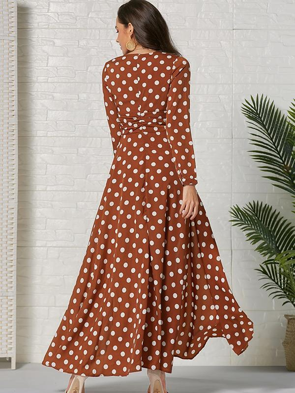 Women Fashion Sexy Polka Dot Long Dress