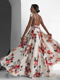 Women Fashion sexy Print Long Dress