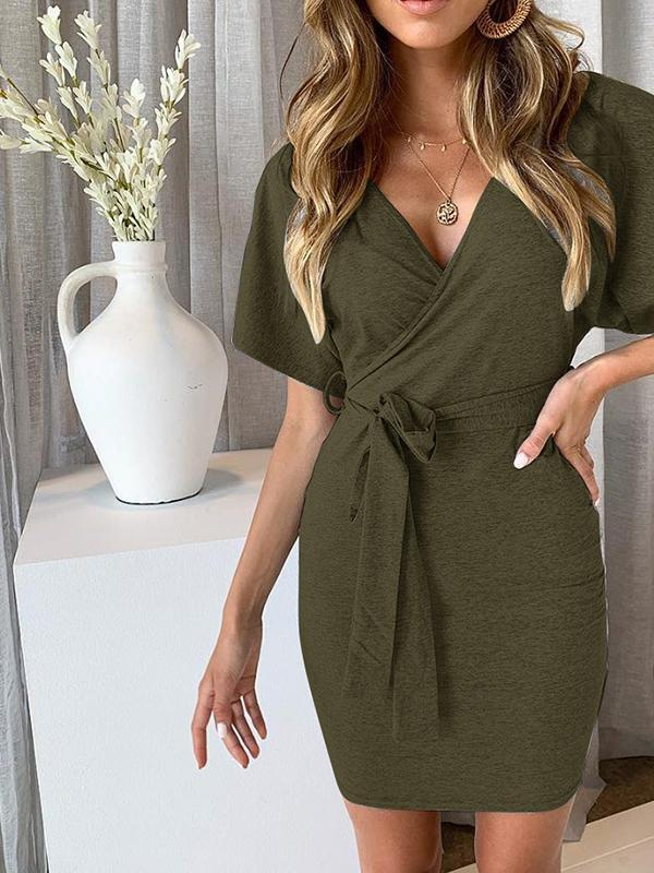 Women Fashion Sexy V-neck Solid Color Package Hip Dress