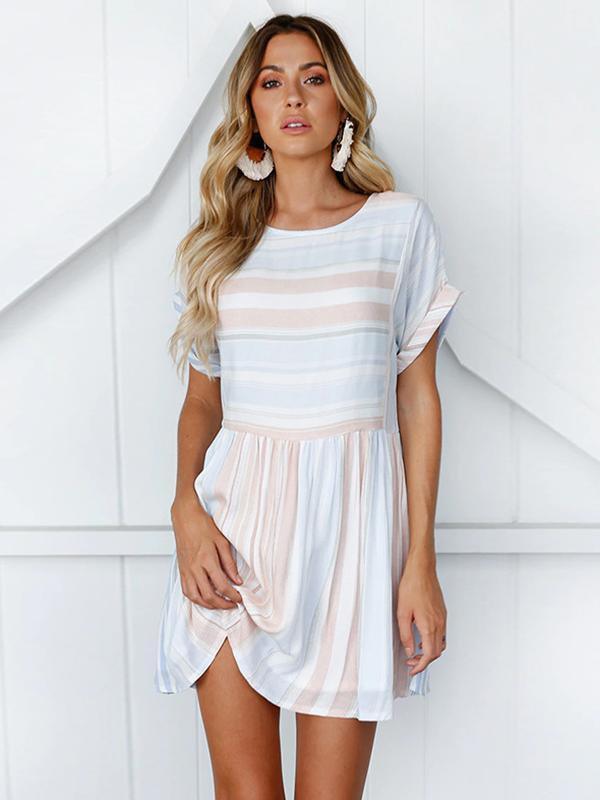 Women Fashion Slim-fit Striped Round Neck Short Dress