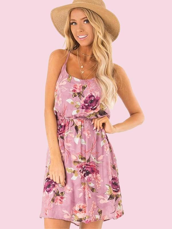 Women Fashion Sling Sleeveless Beach Print Midi Dress