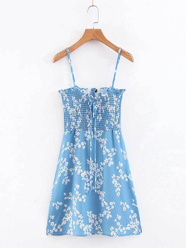 Women Fashion Small Floral Ruffled Short Dress