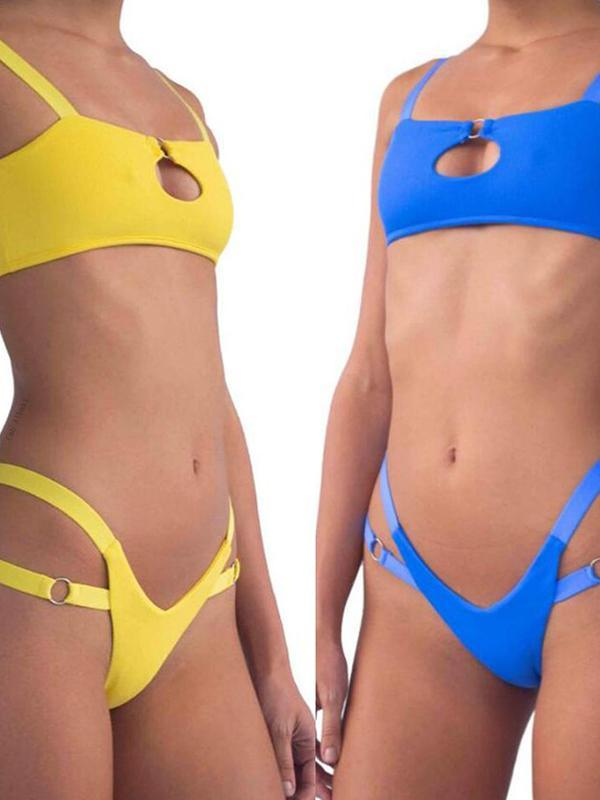 Women Fashion Solid Beach Bikini