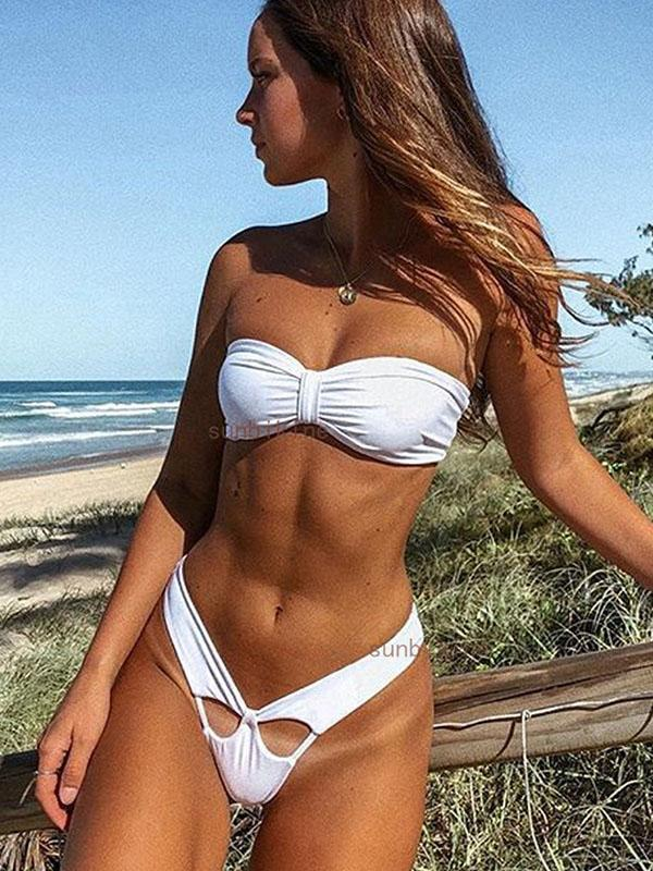Women Fashion Solid Bikini Swimwear