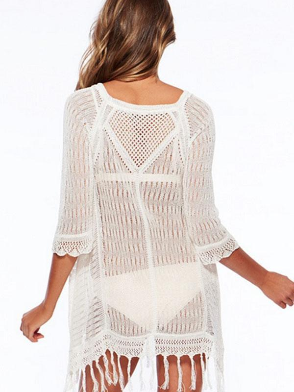 Women Fashion Solid Color Knitted Beach Cover-up