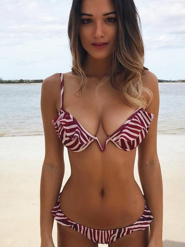 Women Fashion Striped Bikini Beachwear