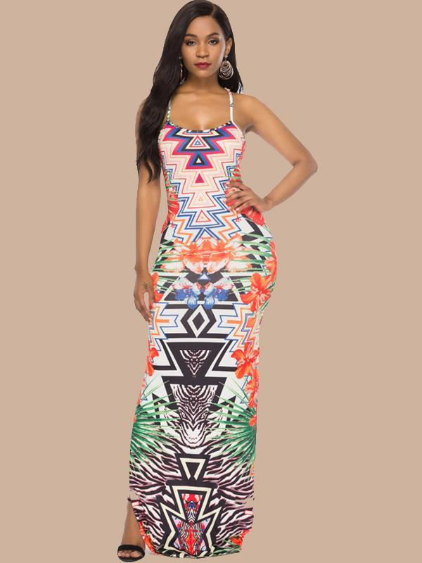 Women Fashion Summer Print Backless Slits Maxi Dress