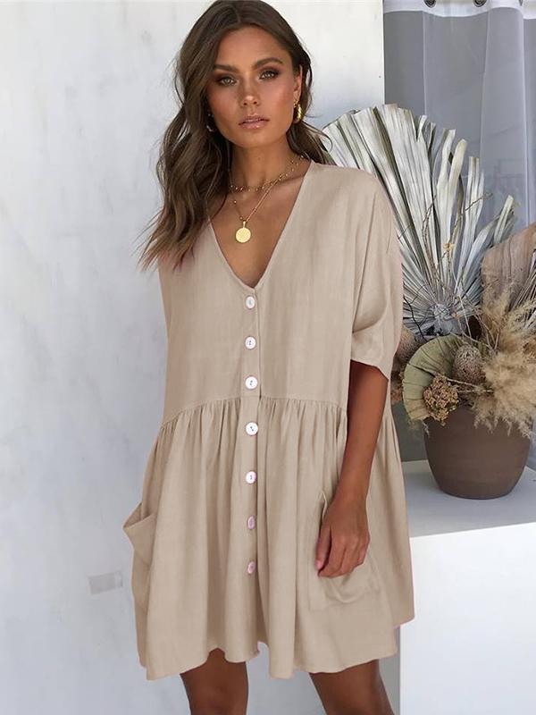 Women Fashion V-neck Half Sleeve Loose Short Dress