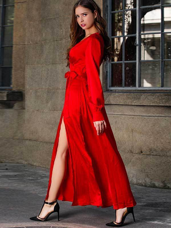 Women Fashion V-neck Long Dress
