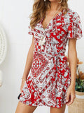 Women Fashion V-neck Sexy Casual Vacation Print Short Dress