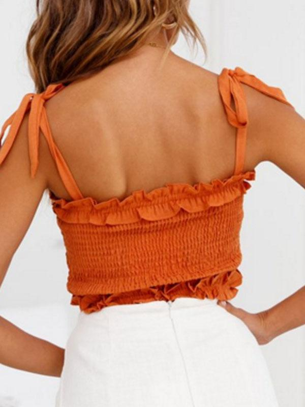 Women Fashion Vacation Off-shoulder Chiffon Tanks Camis