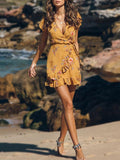 Women Fashion Yellow V-neck Vacation casual Short Dress