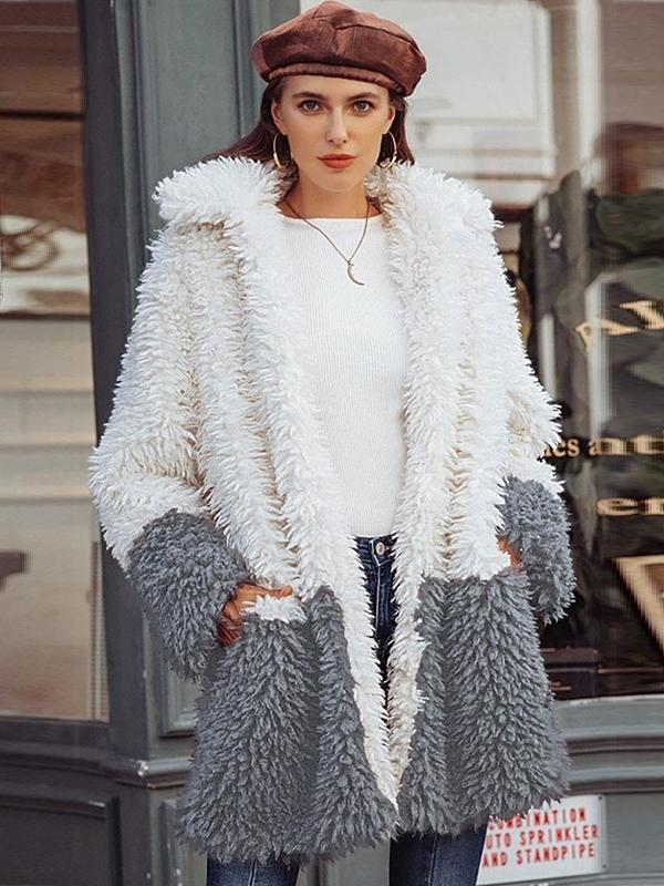women faux fur cardigan sweater coat