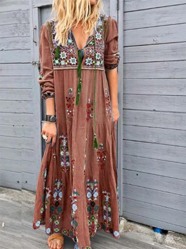 Women Floral Print Fashion Drawstring Lace Long Sleeve Dress