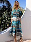 women half sleeve bohemia beach long dress