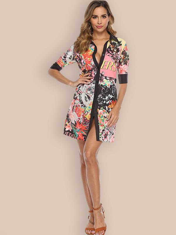 women half sleeve floral shirt dress