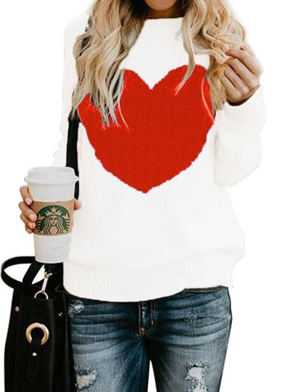 women heart print Pullover sweater