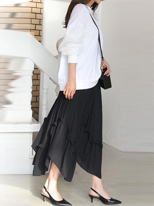 women high waist pleated skirt