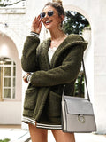 women hooded knit cadigans sweater coat