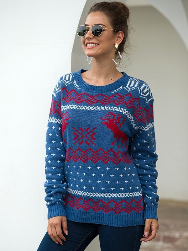 Women Knited Holiday Pullover Christmas Cute Reindeer Sweater