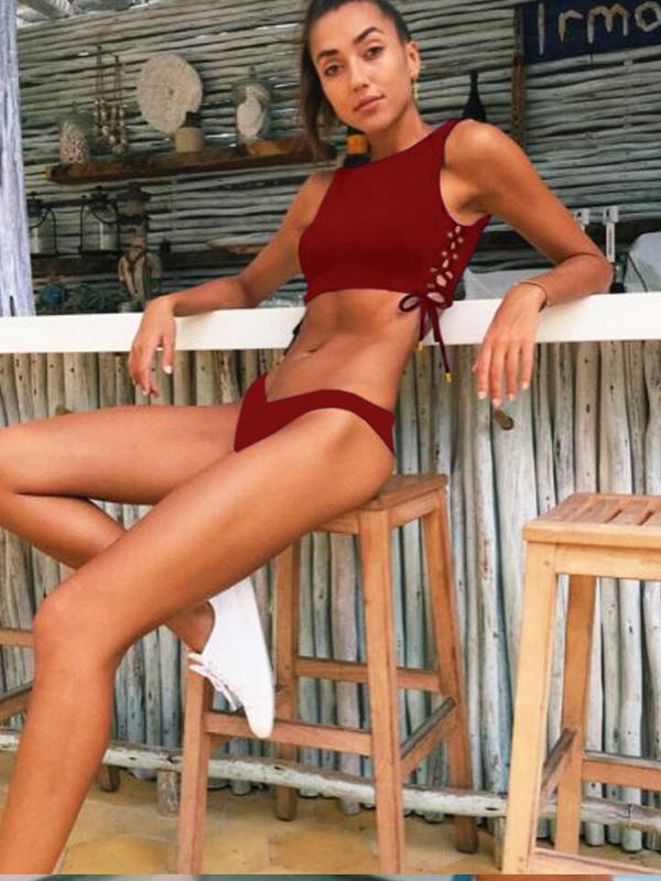 Women Lace-up Solid Bikini Swimwear
