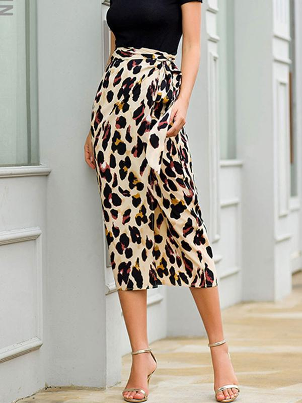 women leopard pirnt wrap skirt
