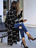 women long cardigan plaid trench coat