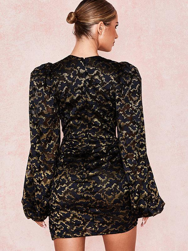 women long puff sleeve sexy lace bodycon dress