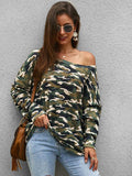 women long sleeve Asymmetric off the shoulder camouflage knit top