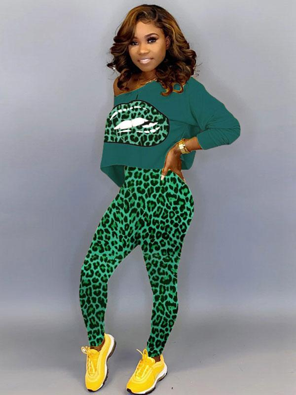 women long sleeve Asymmetric off the shoulder leopard print top & pant set